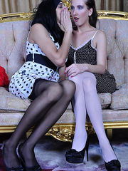 Strapon Sissies Dressed up and made up sissy sucks a fake dick and opens his ass for a girl